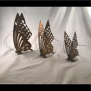 Vintage Set of 3 Brass Butterflies Wings Standing